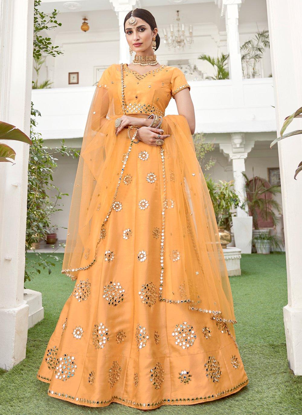 Resham Silk Lehenga Choli in Yellow