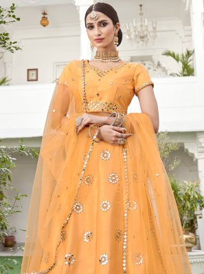 Resham Silk Lehenga Choli in Yellow