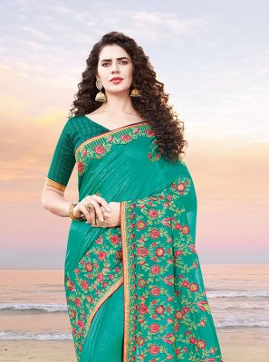 Resham Silk Sea Green Designer Traditional Saree