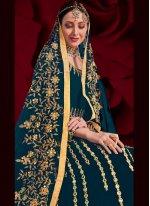 Resham Teal Faux Georgette Floor Length Anarkali Suit