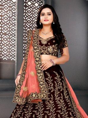 Resham Velvet A Line Lehenga Choli in Maroon