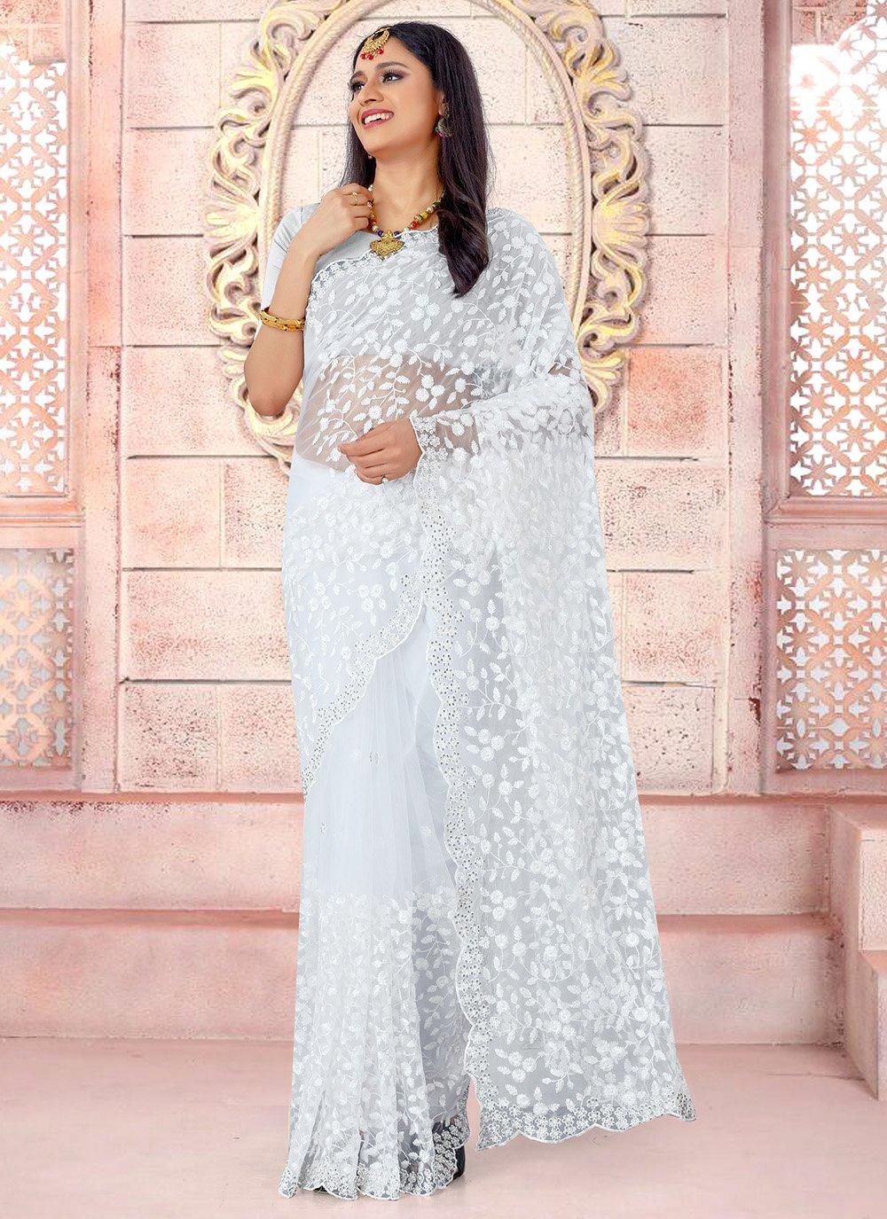Resham White Traditional Saree
