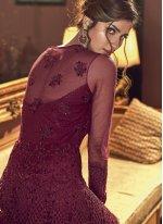 Resham Wine Floor Length Anarkali Salwar Suit