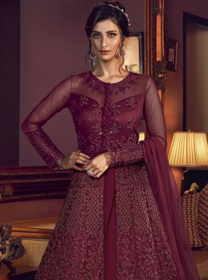 Resham Wine Floor Length Anarkali Salwar Suit