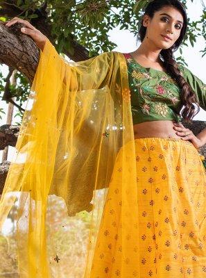 Resham Yellow Silk Lehenga Choli