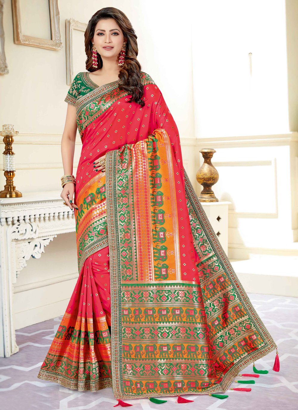 Rose Pink Art Silk Embroidered Traditional Designer Saree