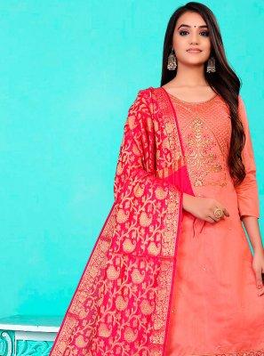 Rose Pink Banarasi Jacquard Pant Style Suit