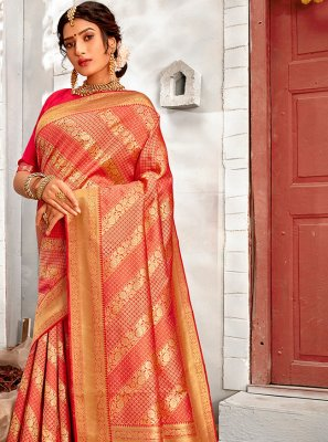 Rose Pink Banarasi Silk Festival Traditional Saree
