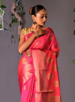 Rose Pink Chanderi Cotton Ceremonial Classic Designer Saree