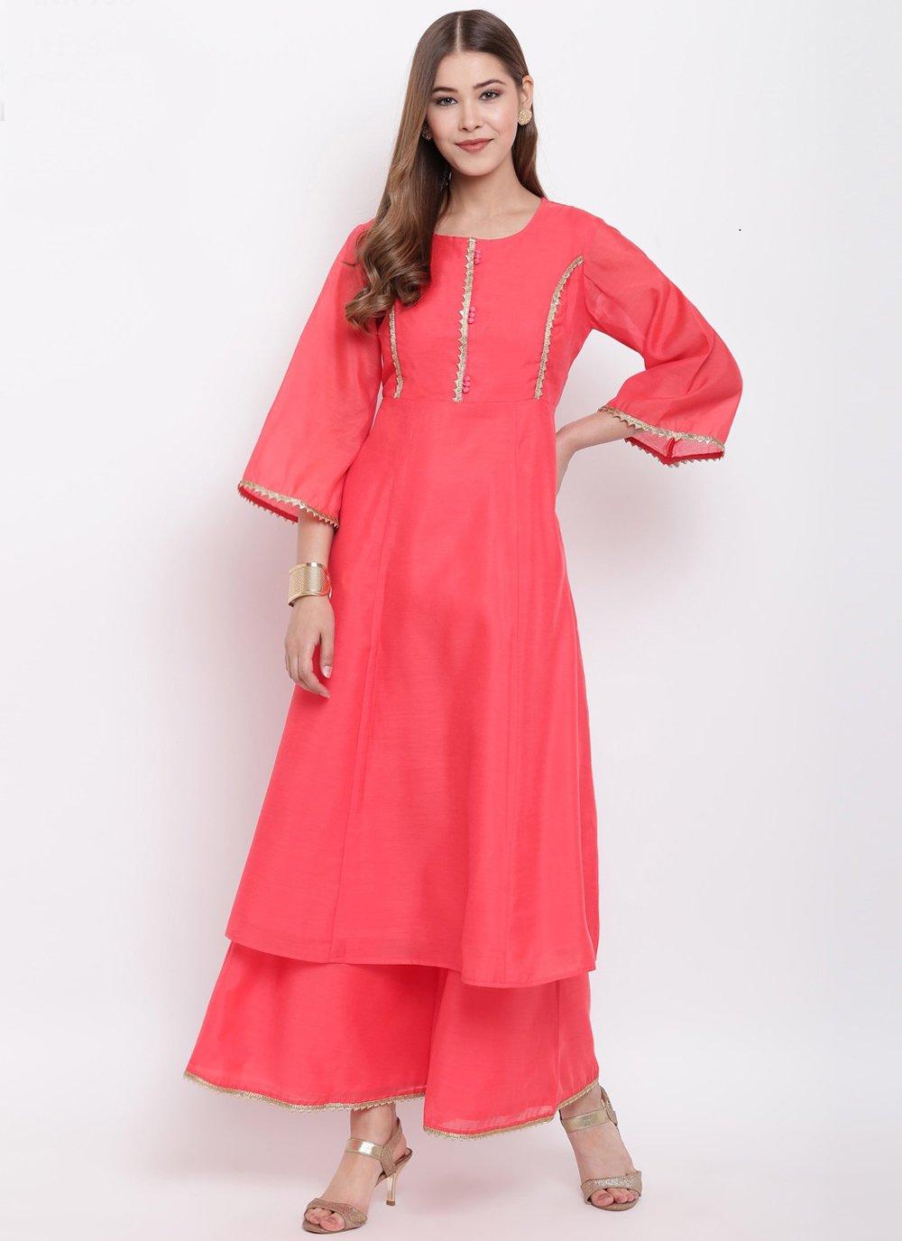 Rose Pink Chanderi Festival Party Wear Kurti