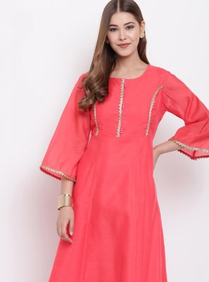 Rose Pink Chanderi Festival Party Wear Kurti