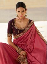 Rose Pink Color Traditional Saree