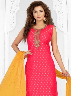 Rose Pink Embroidered Festival Readymade Suit