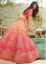 Rose Pink Embroidered Silk Lehenga Choli