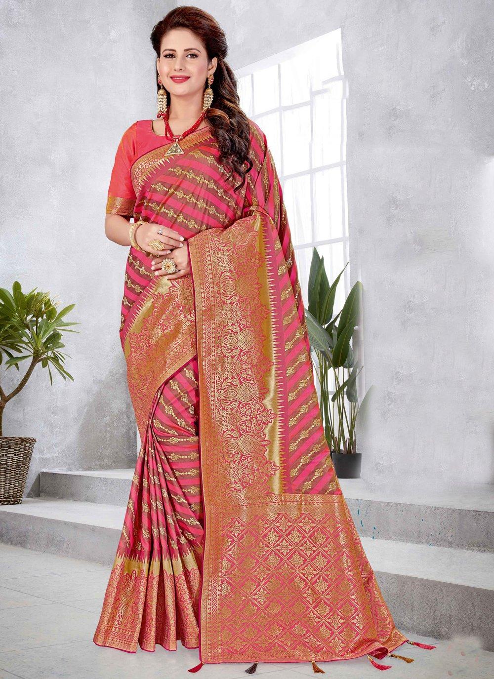 Rose Pink Engagement Art Silk Designer Traditional Saree