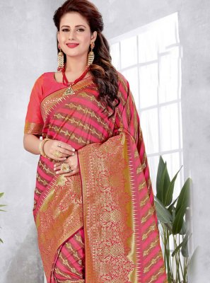 Rose Pink Engagement Art Silk Designer Traditional Saree