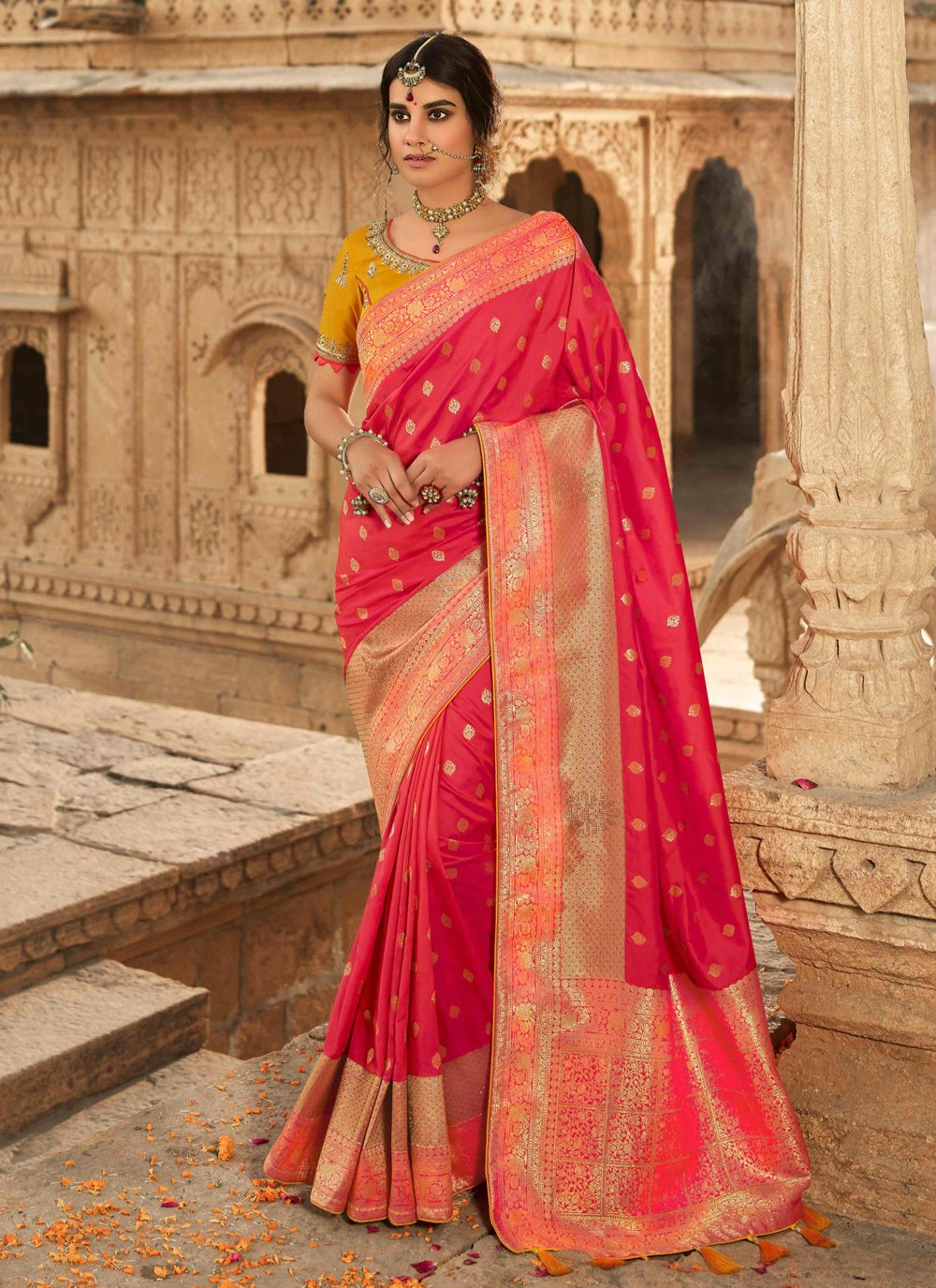 Rose Pink Engagement Traditional Designer Saree