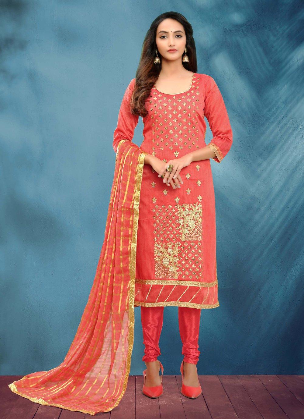 Rose Pink Festival Churidar Salwar Suit