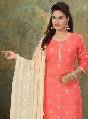 Rose Pink Festival Cotton Readymade Suit