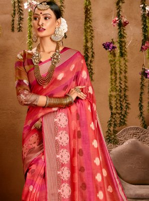 Rose Pink Festival Traditional Saree
