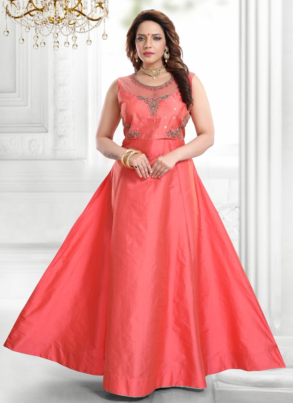 Rose Pink Handwork Silk Readymade Gown