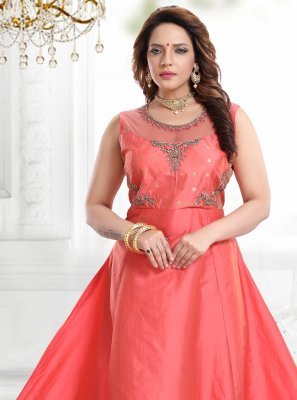 Rose Pink Handwork Silk Readymade Gown