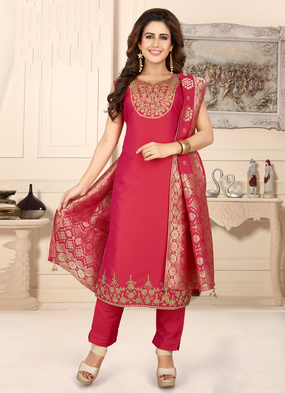 Rose Pink Readymade Suit