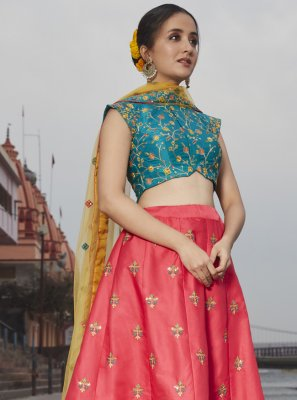 Rose Pink Satin Silk Lehenga Choli