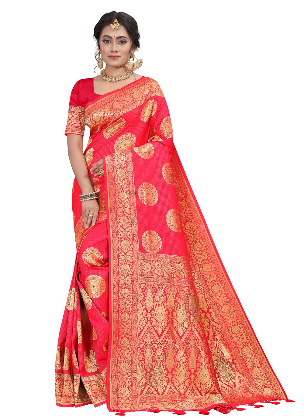 Rose Pink Silk Designer Traditional Saree