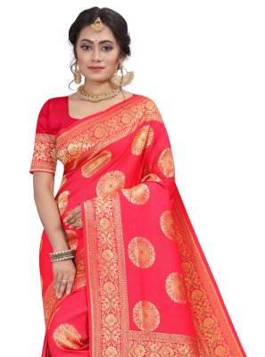 Rose Pink Silk Designer Traditional Saree