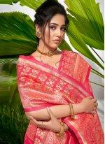 Rose Pink Weaving Traditional Saree