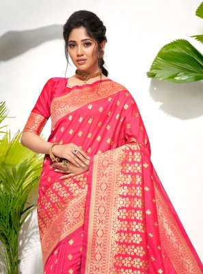Rose Pink Weaving Traditional Saree