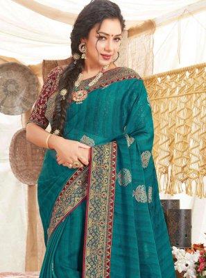 Rupali Ganguly Fancy Fabric Teal Designer Saree