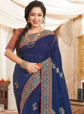 Rupali Ganguly Patch Border Blue Fancy Fabric Classic Saree