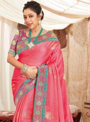 Rupali Ganguly Pink Fancy Fabric Classic Saree