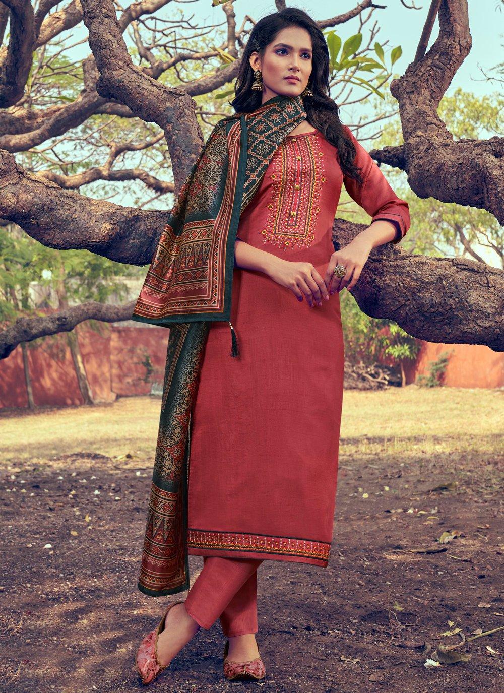 Rust Digital Print Silk Pant Style Suit