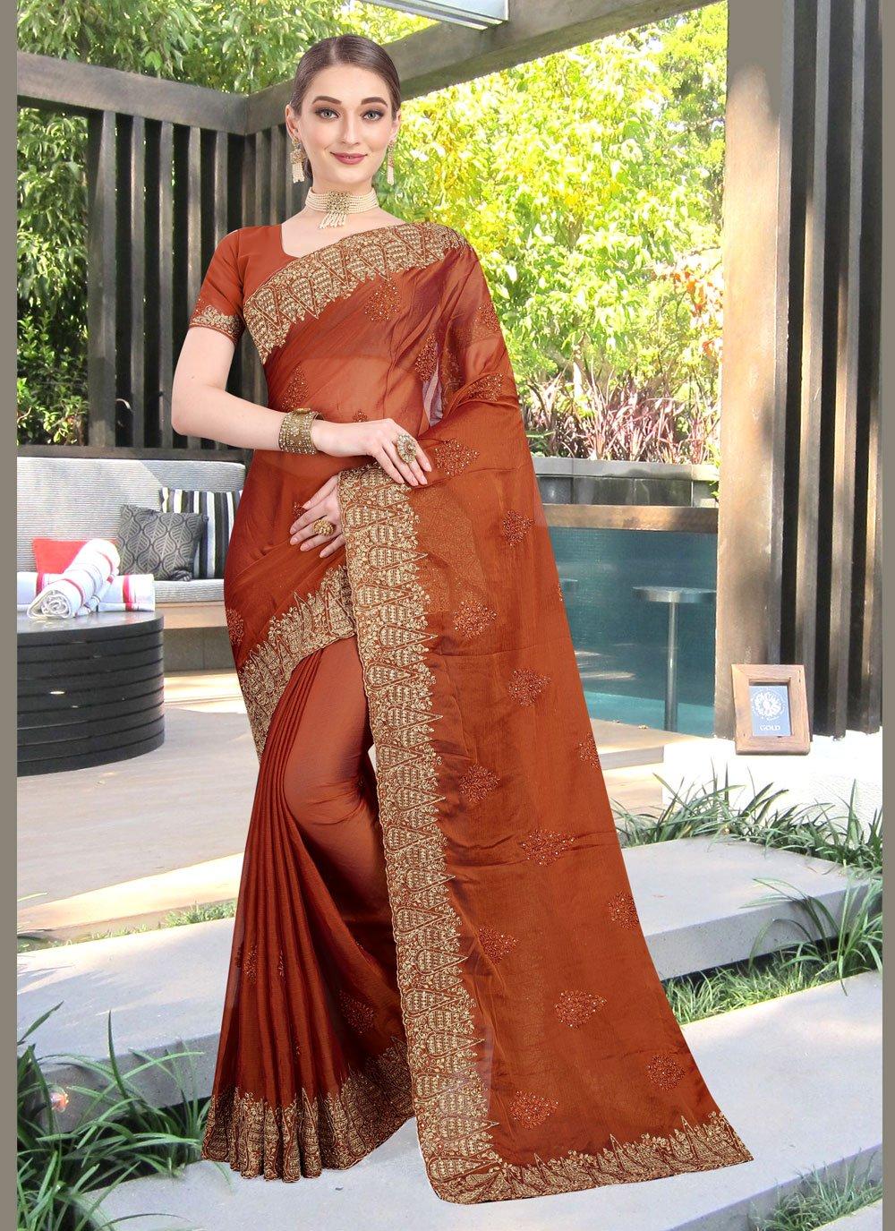 Rust Faux Chiffon Ceremonial Designer Traditional Saree