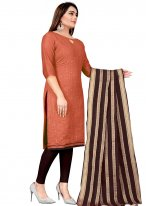 Rust Festival Chanderi Churidar Suit