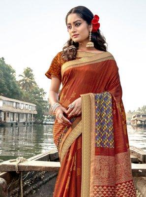 Rust Festival Designer Traditional Saree