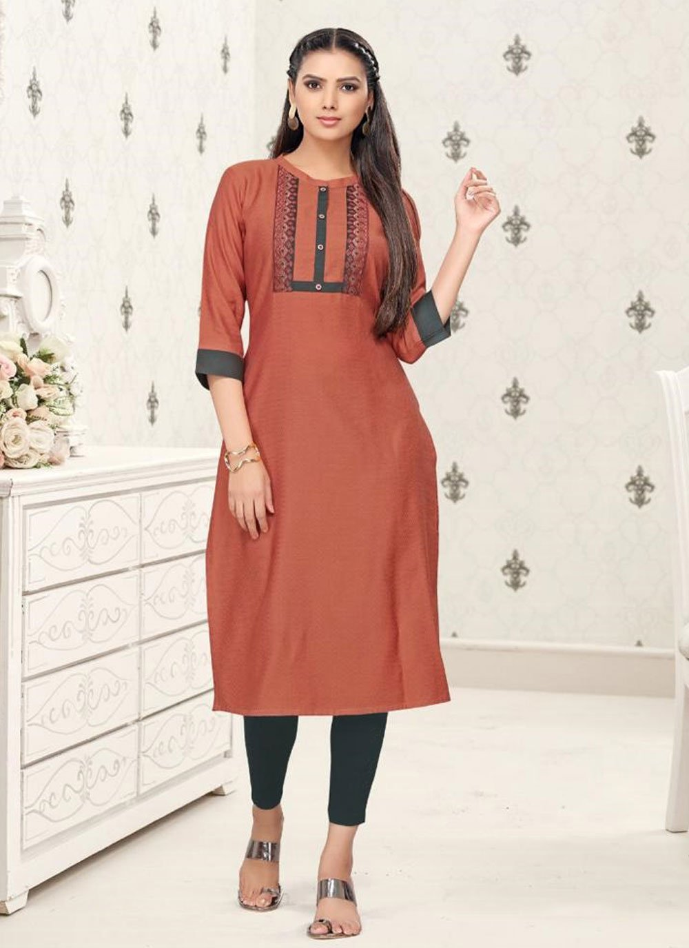 Rust Printed Cotton Party Wear Kurti