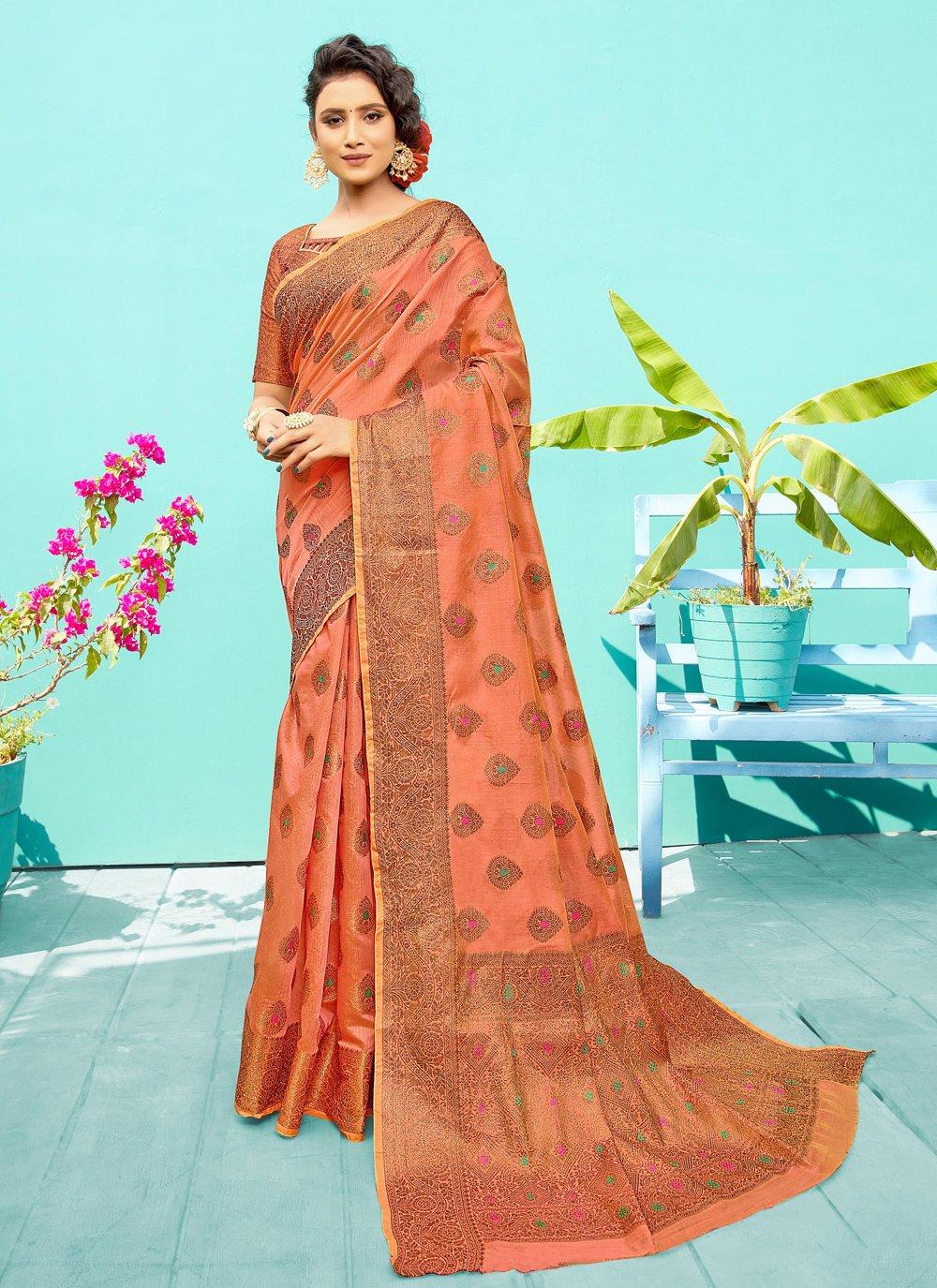 Rust Silk Ceremonial Traditional Saree