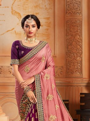 Salmon and Violet Silk Half N Half Designer Saree