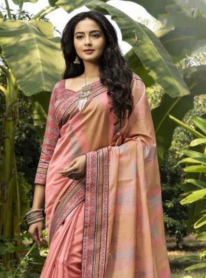 Salmon Chanderi Traditional Designer Saree