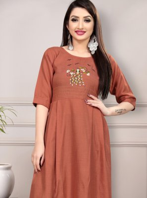 Salmon Cotton Thread Work Casual Kurti