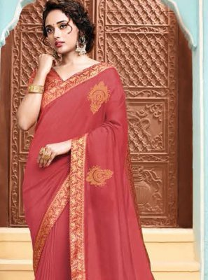 Salmon Embroidered Designer Traditional Saree