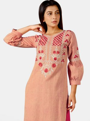 Salmon Khadi Party Wear Kurti