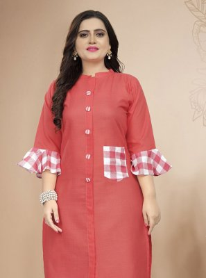 Salmon Print Cotton Party Wear Kurti