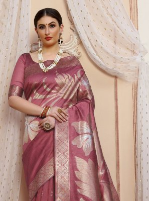 Salmon Silk Designer Traditional Saree
