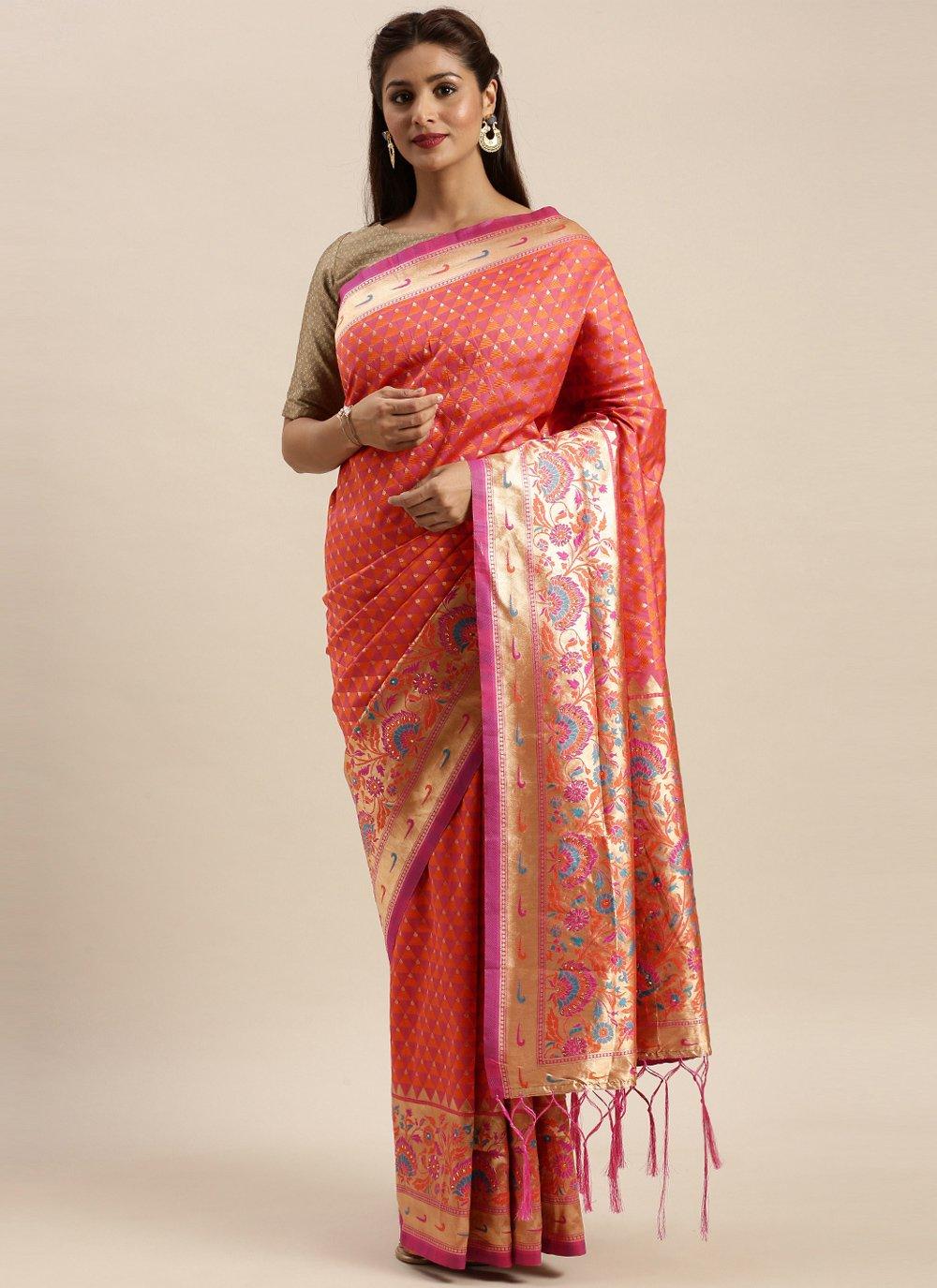 Salmon Silk Woven Designer Traditional Saree