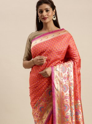 Salmon Silk Woven Designer Traditional Saree